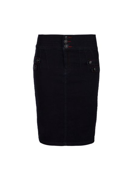 Morgan Denim-look fitted pencil skirt