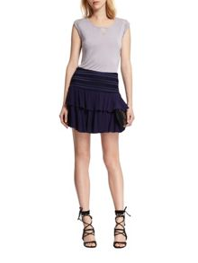Morgan Ruched-detail ruffled skirt