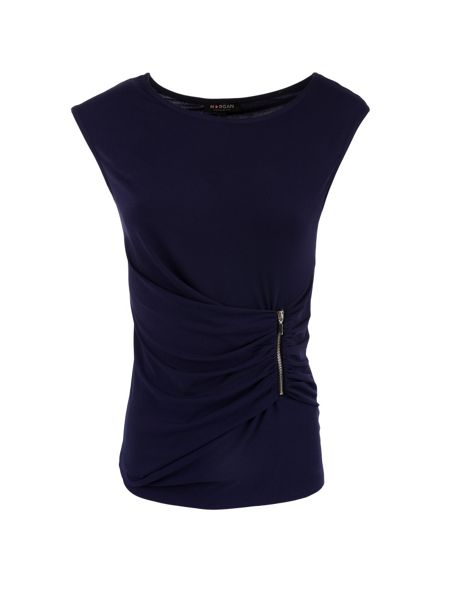 Morgan Zipped-detail ruched top
