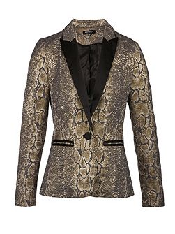 Snakeskin-print fitted jacket