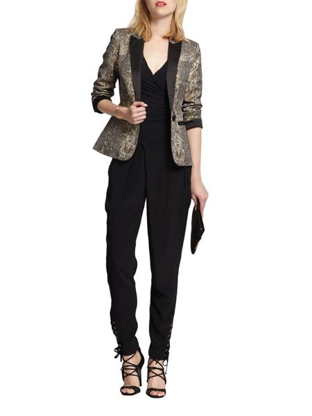 Morgan Snakeskin-print fitted jacket