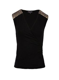 Snakeskin-detail wrap-front top