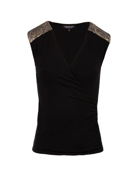 Morgan Snakeskin-detail wrap-front top