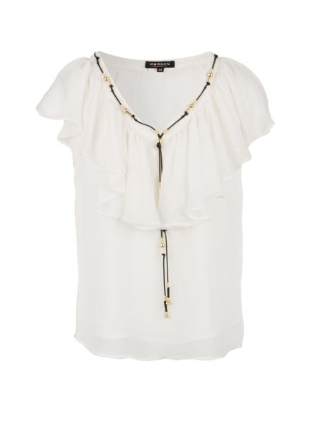 Morgan Ruffle and bead-detail top