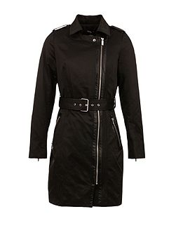 Cotton Piped-Detail Trench Coat