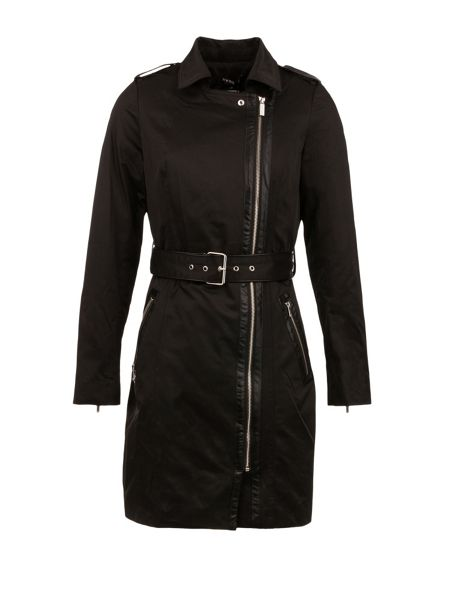 Morgan Cotton Piped-Detail Trench Coat