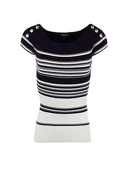 Stretch knit striped jumper