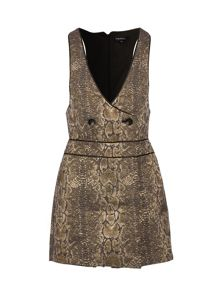 Morgan Snakeskin-print button-detail playsuit