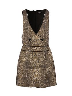 Snakeskin-print button-detail playsuit