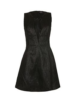 Glittery-thread mesh-insert skater dress