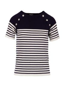 Morgan Button-detail striped knitted top