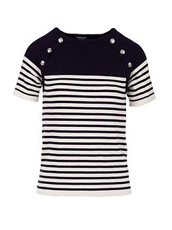 Button-detail striped knitted top