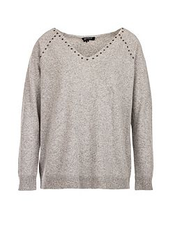 Studded-detail fine-knit sweater