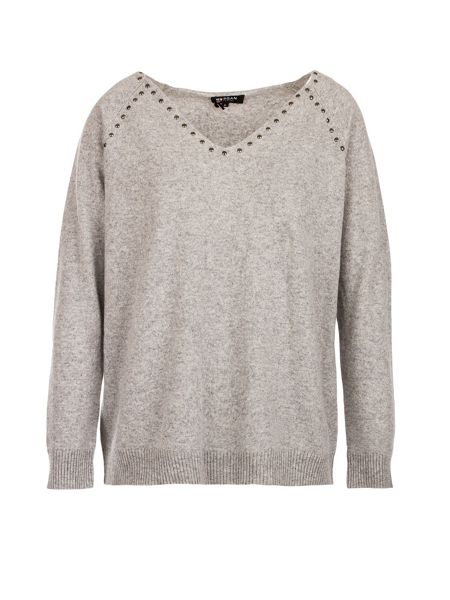 Morgan Studded-detail fine-knit sweater
