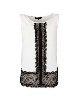 Lace-Panel Sleeveless Top