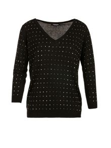 Morgan Square-Studded Fine-Knit Sweater