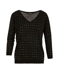 Square-Studded Fine-Knit Sweater