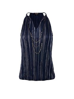 Sleeveless Metallic-Striped Top