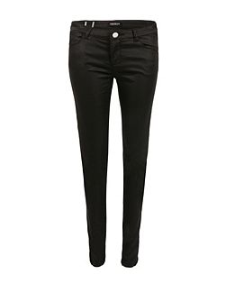 Slim-Fit Coated-Fabric Jeans