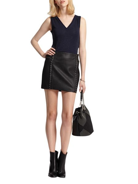 Morgan Leather-Look Eyelet-Detail Skirt