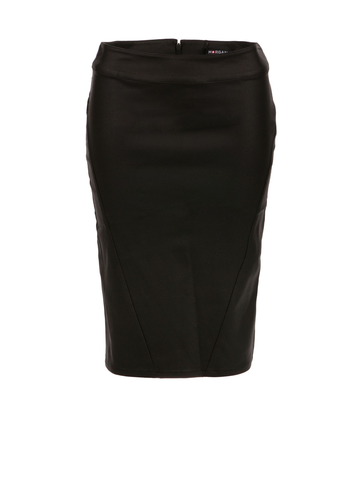 Morgan Shiny-Look Pencil Skirt, Black