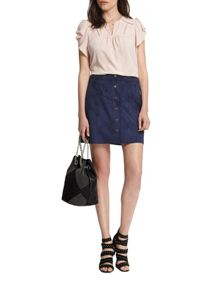 Morgan Suede-Effect Button-Down Skirt