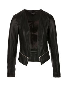 Morgan Leather-look eyelet-detail jacket
