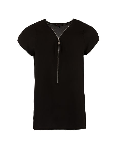 Morgan Zipped collar-detail top