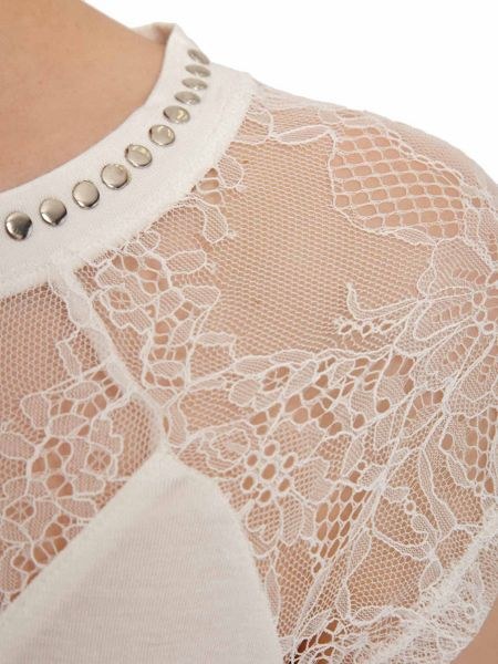 Morgan Patterned lace studded-collar top