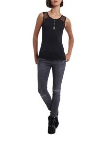 Morgan Jersey And Lace Top