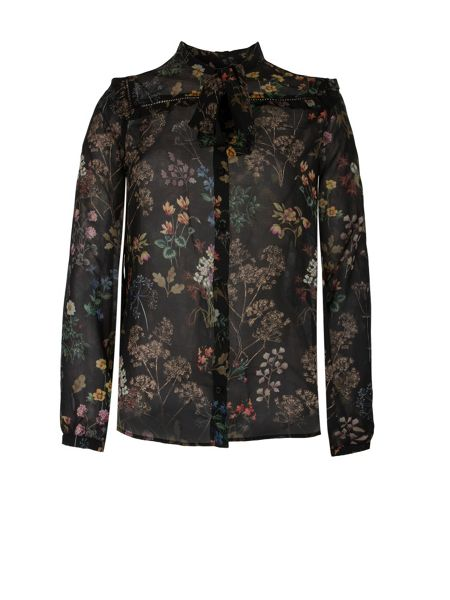 Morgan Flower Printed Chiffon Shirt