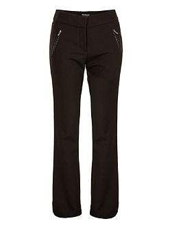 Zip-Detail Bootcut Trousers