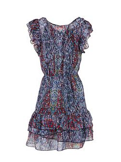 Ruffle-sleeve patterned dress