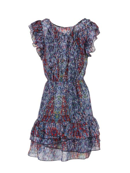 Morgan Ruffle-sleeve patterned dress