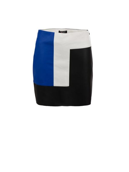 Morgan Contrasting-Panel Leather-Look Skirt