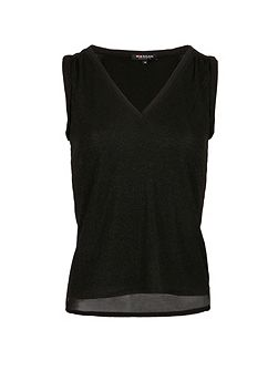 Glittery-knit sleeveless top