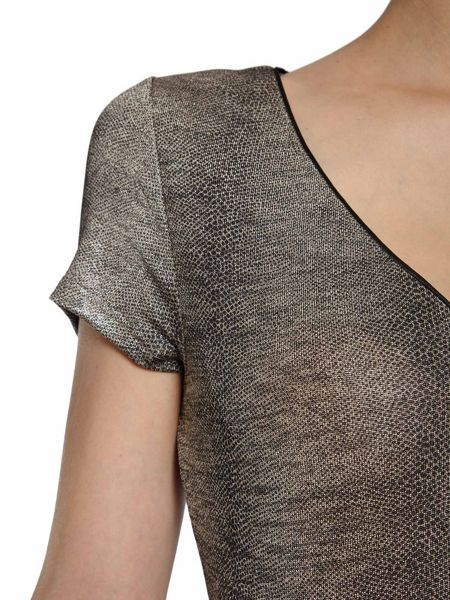 Morgan Metallic shiny-look snakeskin-print top