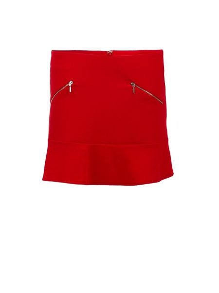 Morgan Zipped-detail flared-hem skirt