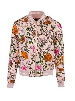 Zip-Front Floral-Patterned Jacket