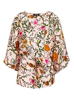Draped-effect floral-print top