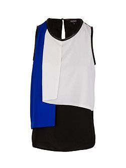 Layered-effect sleeveless top