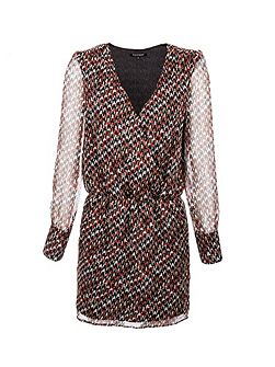 Houndstooth Printed Wrap Dress