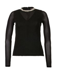 Morgan Beaded Textured Knit Top