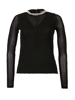 Beaded Textured Knit Top