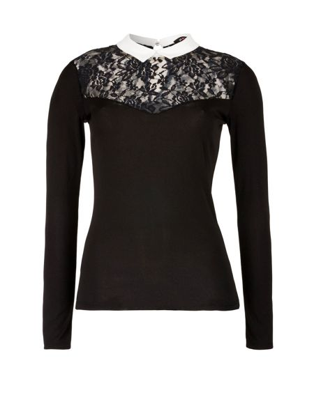 Morgan Jersey And Lace Collar Top