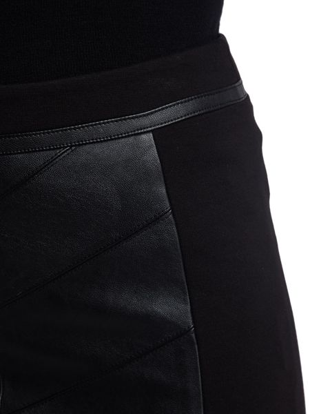 Morgan Milano Knit And Faux Leather Skirt