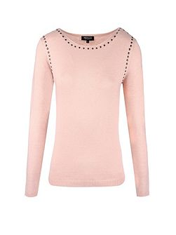 Mixed wool studded jumper