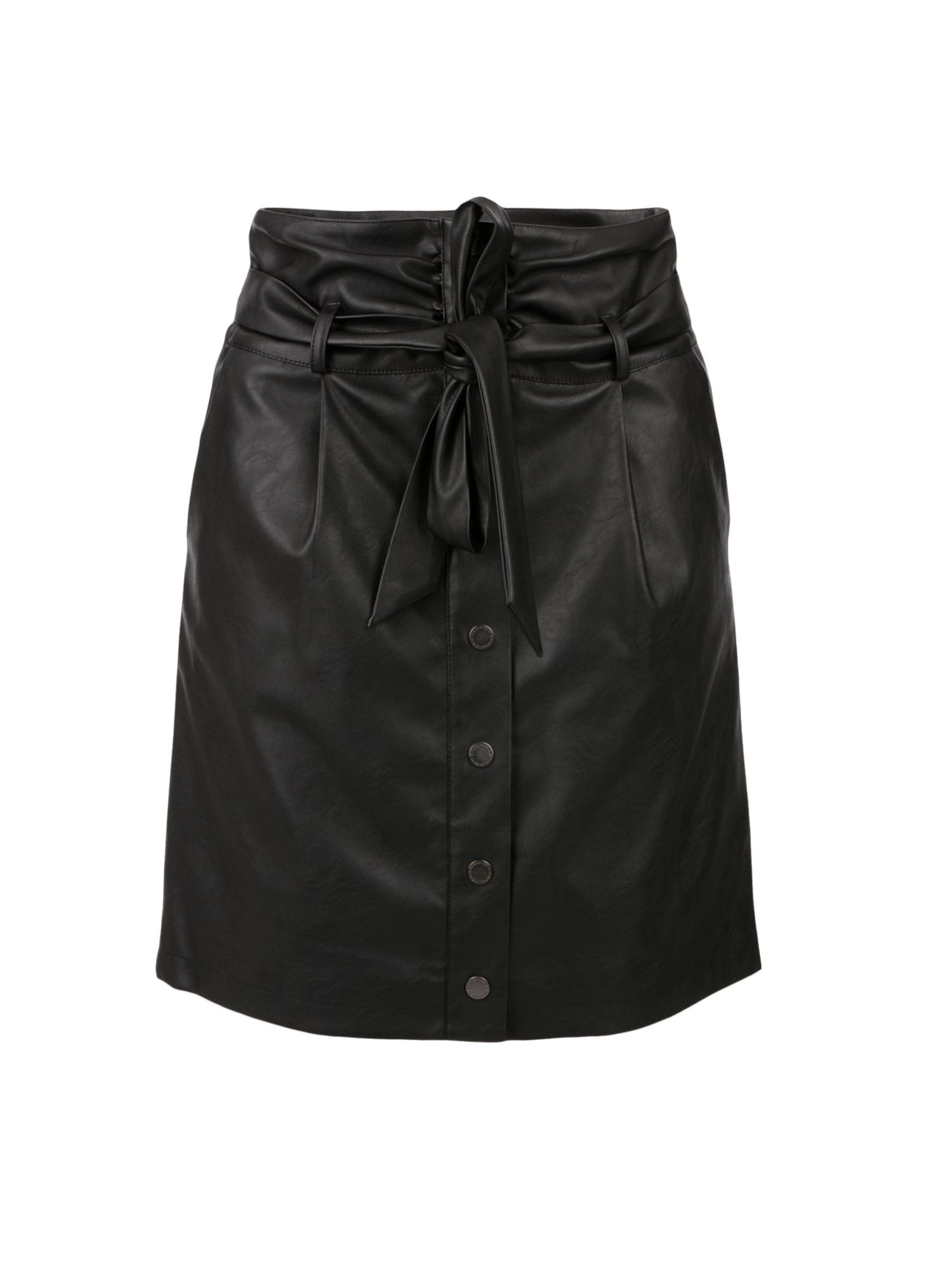 Morgan Morgan Faux Leather High Waisted Skirt, Black