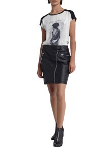 Morgan Biker Style Mini Skirt
