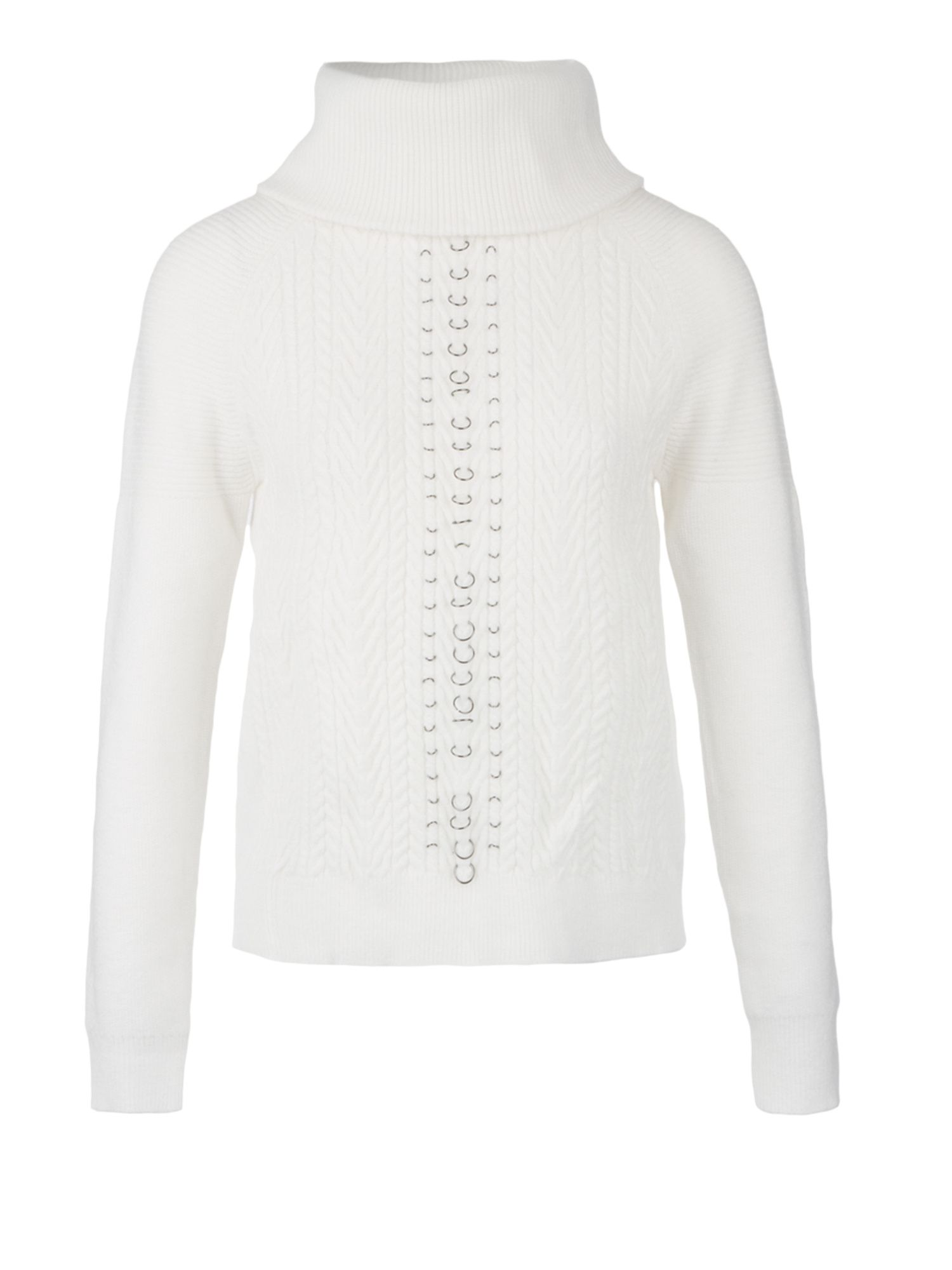 Morgan Morgan Rings Embellished Cable Knit Jumper, White